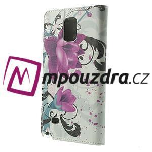 Peněženkové pouzdro na Samsung Galaxy Note 4- fialový květ - 2