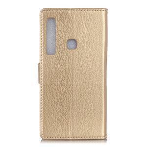 Litchi PU kožené peněženkové pouzdro s texturou na Samsung Galaxy A9 - zlaté - 2