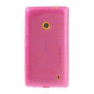 Gelové kartáčové pouzdro na Nokia Lumia 520- růžové - 2
