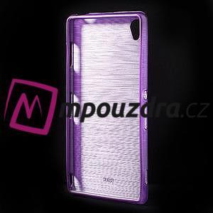 Gelové kartáčové pouzdro na Sony Xperia Z3 D6603 - fialové - 2