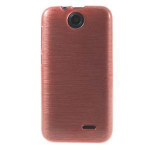 Gelové kartáčované pouzdro na HTC Desire 310- světlerůžové - 2