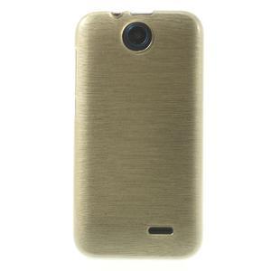 Gelové kartáčované pouzdro na HTC Desire 310- zlaté - 2