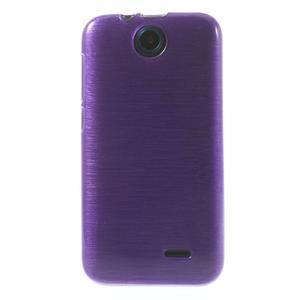 Gelové kartáčované pouzdro na HTC Desire 310- fialové - 2