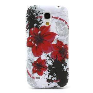 Gelové pouzdro pro Samsung Galaxy S4 mini i9190- červený květ - 2