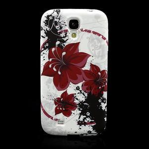 Gelové pouzdro pro Samsung Galaxy S4 i9500- červený květ - 2