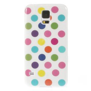 Gelové puntíkaté pouzdro na Samsung Galaxy S5- bílobarevné - 2