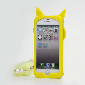 Gelové 3D pouzdro na iPhone 5, 5s- kočka žlutá - 2