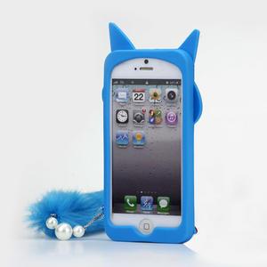 Gelové 3D pouzdro na iPhone 5, 5s- kočka modrá - 2
