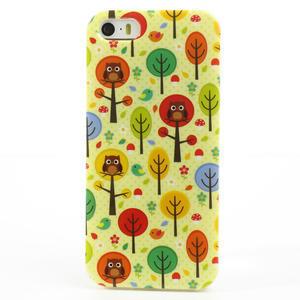 Gelové pouzdro na iPhone 5, 5s- Sovy a stromy - 2