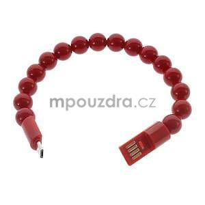 Korálkový náramek micro USB, červený - 2