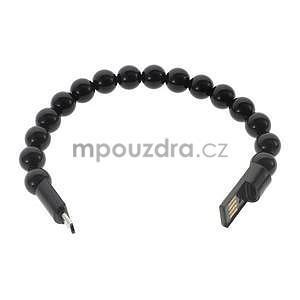 Korálkový náramek micro USB, černý - 2