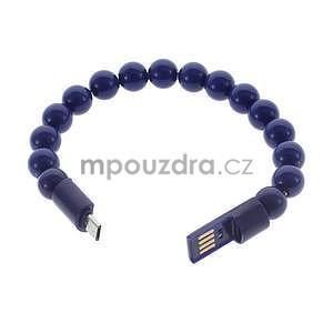 Korálkový náramek micro USB, tmavě modrý - 2