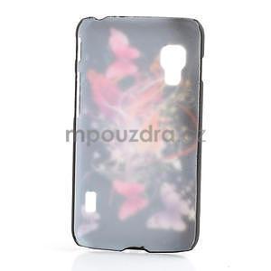 Plastové pouzdro pro LG Optimus L5 Dual E455- Motýl a květ - 2