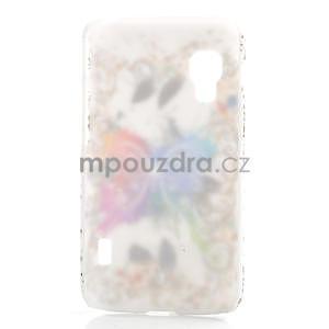 Plastové pouzdro pro LG Optimus L5 Dual E455- motýl bílé pozadí - 2