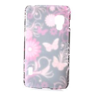 Plastové pouzdro pro LG Optimus L5 Dual E455- motýlový květ - 2