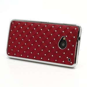 Drahokamové pouzdro pro HTC one M7- červené - 2