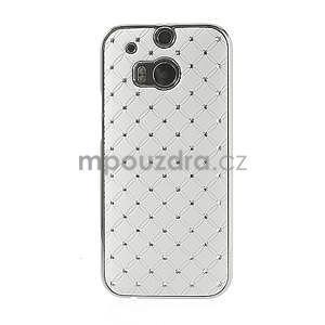 Drahokamové pouzdro pro HTC one M8- bílé - 2