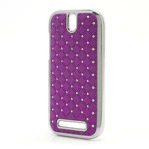 Drahokamové pouzdro pro HTC One SV-fialové - 2