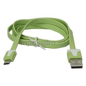 Nabíjecí, propojovací micro USB kabel, zelený / bílý - 2