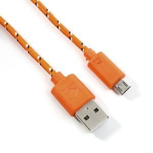 Tkaný odolný micro USB kabel s délkou 2m - oranžový - 2