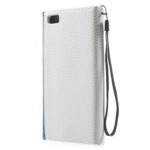 Luxusní peněženkové pouzdro na Huawei P8 Lite - bílé / modrozelené - 2