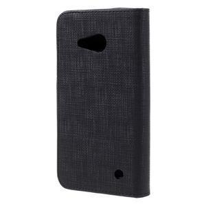 Cloth PU kožené pouzdro na mobil Microsoft Lumia 550 - černé - 2