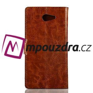 Peněženkové PU kožené pouzdro na Sony Xperia M2 D2302 - hnědé - 2