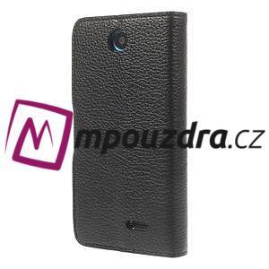 Peněženkové PU kožené pouzdro na HTC Desire 310- černé - 2