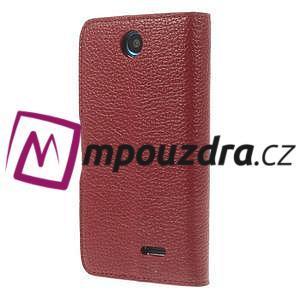Peněženkové PU kožené pouzdro na HTC Desire 310- červené - 2