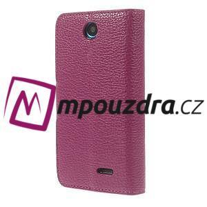 Peněženkové PU kožené pouzdro na HTC Desire 310- růžové - 2