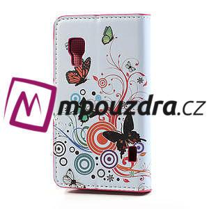 Peněženkové pouzdro pro LG Optimus L5 Dual E455-barevní motýli - 2