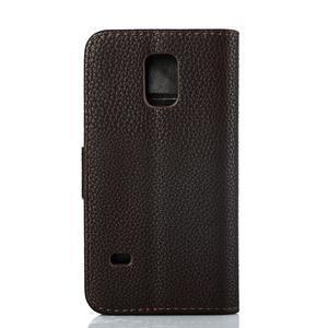 PU kožené flipové pouzdro na Samsung Galaxy S5 mini G-800- hnědé - 2