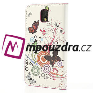 Peněženkové pouzdro na Samsung Galaxy Note 3- barevné motýlci - 2