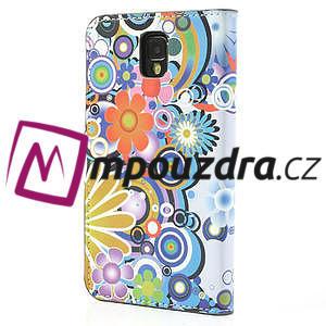 Peněženkové pouzdro na Samsung Galaxy Note 3- barevné květy - 2