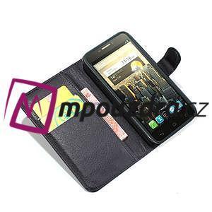 Peněženkové PU kožené pouzdro na Alcatel One Touch Idol OT-6030D- černé - 2