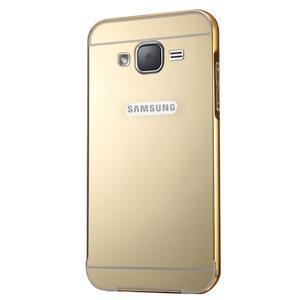 Odolný obal s kovovým obvodem na Samsung Galaxy J5 (2016) - zlatý - 2