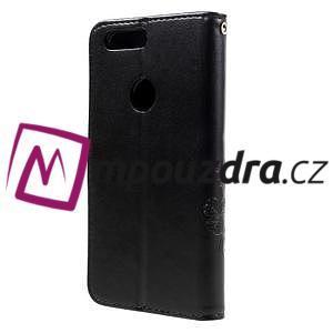 Floay PU kožené pouzdro s kamínky na mobil Honor 8 - černé - 2