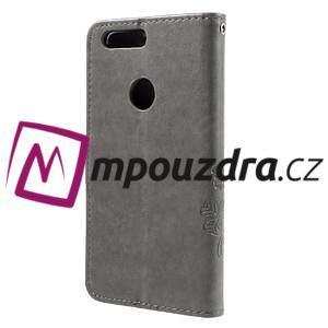 Floay PU kožené pouzdro s kamínky na mobil Honor 8 - šedé - 2