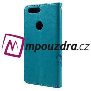 Floay PU kožené pouzdro s kamínky na mobil Honor 8 - modré - 2