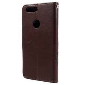 Floay PU kožené pouzdro s kamínky na mobil Honor 8 - hnědé - 2