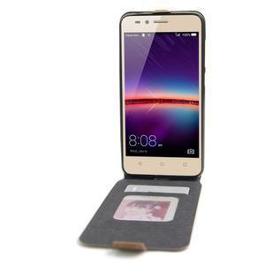 Flipové PU kožené pouzdro na Huawei Y3 II - hnědé - 2