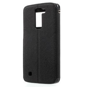 Diary PU kožené pouzdro s okýnkem na LG K8 - černé - 2