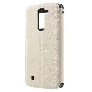 Diary PU kožené pouzdro s okýnkem na LG K8 - bílé - 2