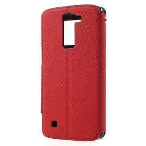 Diary PU kožené pouzdro s okýnkem na LG K8 - červené - 2