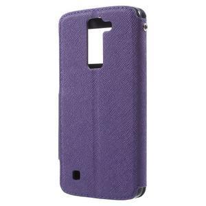 Diary PU kožené pouzdro s okýnkem na LG K8 - fialové - 2