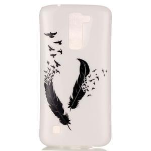 Průhledný gelový obal na telefon LG K8 - peříčka - 2