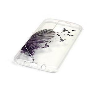 Průhledný gelový obal na telefon LG K8 - ptačí peříčko - 2