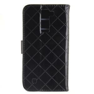 Luxusní PU kožené pouzdro s přezkou na LG K8 - černé - 2