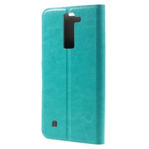Horse PU kožené pouzdro na mobil LG K8 - zelenomodré - 2