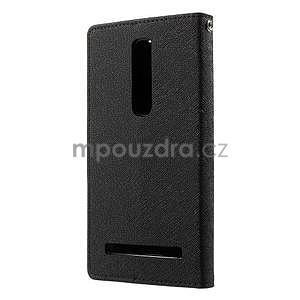 Zapínací PU kožené pouzdro na Asus Zenfone 2 ZE551ML - černé - 2